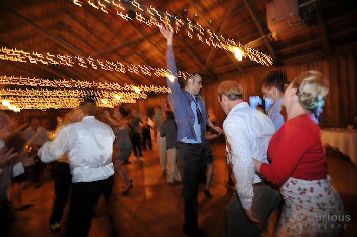 wild dancing at wedding reception.