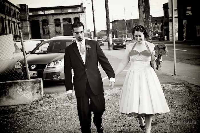Alternative urban bride and groom in Georgetown Seattle