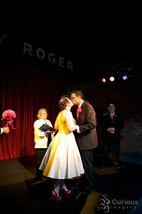 Bride and groom kiss at Georgetown Ballroom in South Seattle.