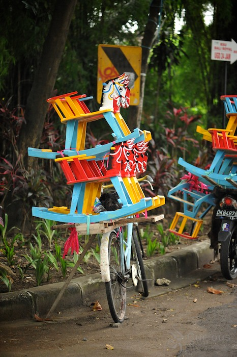 Colorful wood rocking horses in Denpasar, Bali
