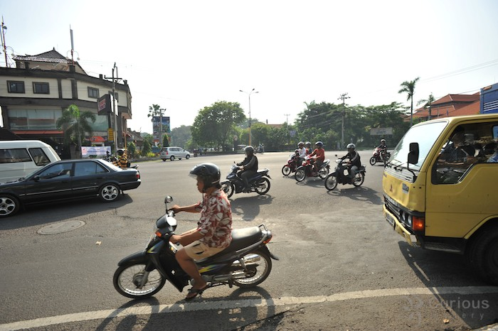 Traffic in Bali, outside the KFC in Sanur.