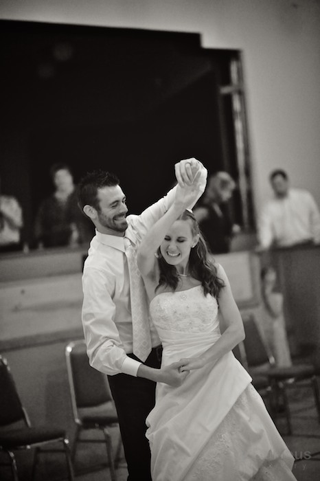 First dance, black and white, bride and groom.